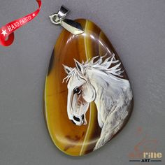 FASHION NECKLACE HAND PAINTED HORSE GEMSTONE PENDANT BEAD ZL8010958 #ZL #Pendant