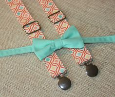 Dark Mint / Teal Bow Tie and Coral Orange Print by CottonKandyShop, $35.00