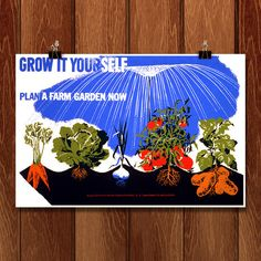 Grow it yourself Plant a farm garden now by Herbert Bayer for WPA Federal Art Project by Creative Action Network - 1 Custom Posters, Vintage Posters, Herbert Bayer, Wpa Posters, Community Activities, Victory Garden, Farm Gardens, Vintage Advertisements, Art Projects