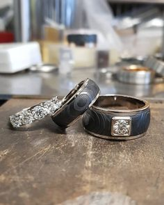 Happy customer, happy goldsmith. Design Petri Pulliainen. #petripulliainen  #diamondring #handmade #damascussteelrings #damascusring #weddingrings #handmadejewelry #diamondring Damascus Steel, Class Ring, Rings For Men, Handmade, Jewelry, Instagram, Design, Men Rings, Hand Made