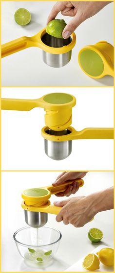 Ergonomic twist-action hand press makes juicing easier. Kitchen Hacks, Kitchen Tools, Kitchen Gadgets, Home Gadgets, Gadgets And Gizmos, Citrus Juicer, Joseph Joseph, Professional Kitchen, Chocolate Lovers