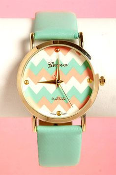 Mint, coral, and gold chevron watch! So cute!
