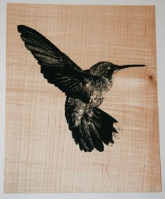 Hummingbird image printed on veneer
