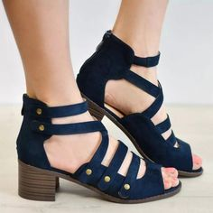 Multi-Strap Heeled Sandals Peep Toe Woman Shoes Comfortable Strappy PU Leather Cute Zip High Heels Thick Rivet Solid Gladiator Plus Size Block Heels Outfit, Sandals Outfit, Shoes Sandals, Flats, Spring Sandals, Spring Shoes, Blue Sandals, Fall Shoes, Strap Heels