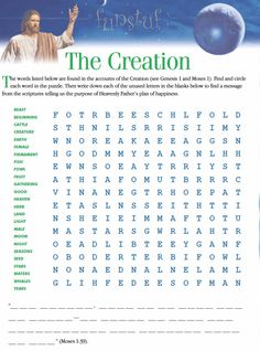 LDS Games - Word Search - The Creation