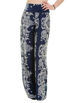 33efa17d73953 Unique Printed Palazzo Pants - Banded High Waist or Fold Over - Fabric:  Polyester, Spandex - Hemline made to cut to adjust pant length Waist Inseam  Size ...
