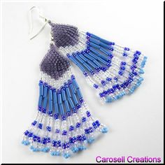 Native American Style With Purples and Blues Dangle Chandelier Beaded Earrings TAGS - Jewelry, Earrings, Dangle, native american indian, carosell creations, bugle, bead, southwest, western, blue, purple, pierced, accessories, fringe, glass, seed beads, birthday gift idea, beadwoven, weaved, beaded, chandelier, transparent, opaque, women, ladies fashion