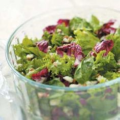 Fancy Green Salad Recipe  Cranberries & blue cheese     Rasberry vinaigrette