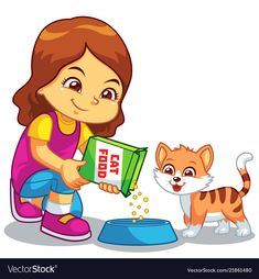 Girl feeding her pet cat vector image on VectorStock Cat Clipart, Cat Vector, Cute Cartoon Pictures, Cartoon Pics, Clown Crafts, Picture Comprehension, Oral Motor Activities, Islamic Cartoon, Water Drawing