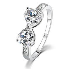 18K Platinum Plated Elegant Bow Crystal Diamond Wedding Engagement Promise Ring www.fanaticaccessories.com