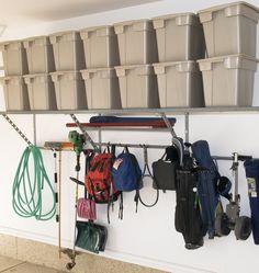 Love the way the shelves can hold so much weight. Custom Garage Storage Solutions: Monkey Bars garage storage and organization (Lodi, Stockton, Concord, Walnut Creek. Storage Bins, Storage Solutions, Storage Ideas, Shelving Ideas, Storage Systems, Plastic Storage, Storage Cabinets, Garage Shelving, Garage Storage