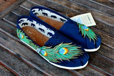 Navy Gold Peacock Feather TOMS shoes by BStreetShoes on Etsy, $149.00