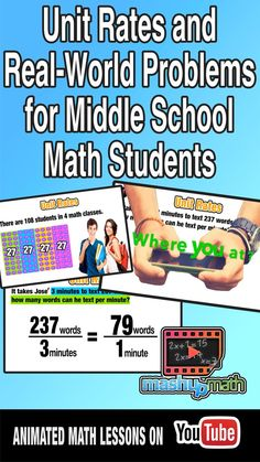 Students lose motivation for learning mathematical procedure if they feel like it does not apply to real life. This flipped video lesson is on unit rates and how they apply to the real world.