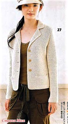 Crochet Jacket, Crochet Cardigan, Knit Crochet, Knitting Patterns, Crochet Patterns, Crochet Clothes, Knitted Hats, Knitwear, Sweaters