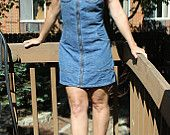 Vintage 70s Blue Denim Zip Up Mini Dress – SQZ Squeeze Jeanwear – Size S