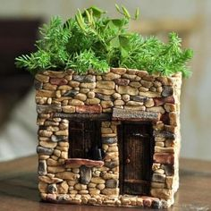 Mini House Functional Flower. www.teeliesfairygarden.com . . . Turn your garden into a place where enchanted little creatures are welcome to stay with this adorable mini house! (Also a functional flower pot for Succulents!) #fairyhouses