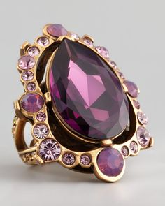 Oscar de la Renta Pear-Cut Crystal Ring, Aubergine - Neiman Marcus