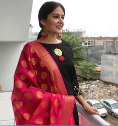 reuse old kanjeevaram silk saree as dupatta against a plain salwar.