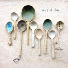 Piece of clay Ceramic Spoons, Ceramic Clay, Ceramic Painting, Ceramic Pottery, Pottery Art, Spoon Ornaments, Clay Owl, Pottery Designs, Contemporary Ceramics