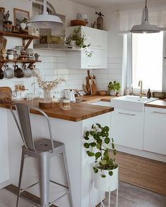 white and light wood modern farmhouse contemporary kitchen decor houseplants wal. - white and light wood modern farmhouse contemporary kitchen decor houseplants wall shelves - Home Decor Kitchen, Kitchen Interior, Home Kitchens, Kitchen Design, Kitchen Ideas, Small Kitchen Inspiration, Small Apartment Kitchen, Interior Plants, Cozy House
