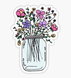 Mason Jar with Flowers Sticker