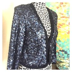 """Forever 21 Sequin Blazer Jacket - Blue & Black Forever 21 Sequin Blazer Jacket -- Blue & Black  Sequins --- NWT new with tags --- Size medium --- 20"""" length --- one hook and eye closure --- fully lined ---  thank you for visiting my boutique , please feel free to ask any questions  Forever 21 Jackets & Coats"""