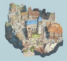Stone village by Sungwhooan Lee on ArtStation. Fantasy Town, Fantasy Map, Fantasy World, Environment Concept Art, Environment Design, Medieval, Bg Design, Design Concepts, Game Concept Art