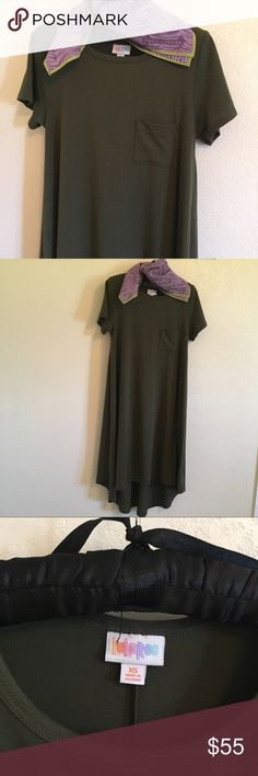 Lularoe (NWOT) Carly in solid Army Green XS Lularoe Carly in solid Army Green. XS (fits S - M depending on desired fit). High low hem. Knee length in front. Excellent condition. New without tags. Washed but never worn. Marc Jacobs necktie is sold separately or bundle and make me an offer. Smoke and pet free home. I'm only selling because I have many Carly's and never got around to wearing it. Looks adorable with a jean jacket or vest! Very versatile—good as a beach cover up, weekend wear, or…