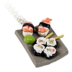 Sushi Plate Necklace – Shelfies - Outrageous Clothing Metal Clay Jewelry, Metal Necklaces, Jewelry Necklaces, Jewellery, Sushi Plate, Clothing Items, Plates, Make It Yourself, Ethnic Recipes