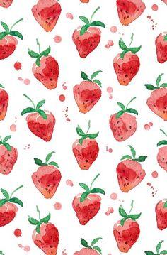 Watercolor strawberries wallpaper