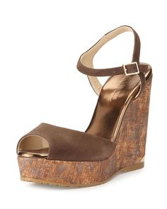 1cdac3495b6 Gucci Liliane Suede Cork Stud Horsebit Wedge Sandals New NIB Size 8 ...