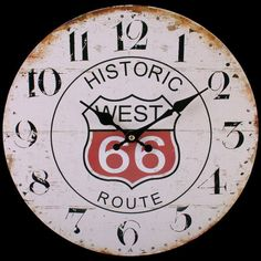 BRAND NEW ROUTE 66 CLOCK VINTAGE / RETRO LOOK POST FREE UK