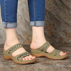 b9110ac002246 LOSTISY Handmade Stitching Hollow Casual Comfy Sandals - Banggood Mobile  Wedge Sandals