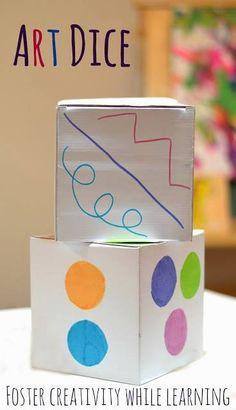 """Taller.Se pueden elaborar estos dados qu. Los alumnos y alumnas lanzando el dado deberán dibujar en un folio su """"CUADRO ARTÍSTICO"""" siguiendo las indicaciones de ambos Dados (uno indica los colores a utilizar), (el otro las formas a emplear: líneas, círculos, rallas discontinuas...entre otras mucha). Además, podemos trabajar un artista que trabaje con técnicas similares, es decir , líneas , círculos, rallas...tales como Picasso o Bauhaus. https://www.facebook.com/laruedadelaescuela"""
