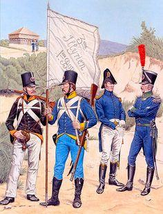 Illyrian Chasseurs, 1810-13: Chasseur, 4th Regiment; Sergeant porte-fanion, 1st Bn, 3rd Regiment; Administrative staff captain; Chef de bataillon, 6th Regiment