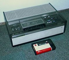 Sony U-Matic video format.  I remember these in high school (no its not beta or vhs! )