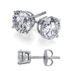 Cubic Zirconia Stud Earrings 3 Carat Total Weight Diamond Color Cz Set on Heavy 925 Sterling Silver Stud Basket Setting, Nickel Free Earrings Includes Gift Packaging