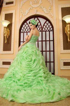 Custom Made Light Green Quinceanera Dress Strapless by AIJIAYI, $355.00