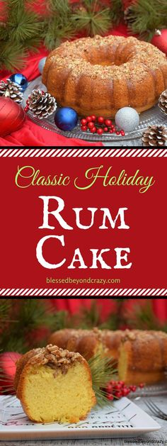 Rum Cake with real rum, pecans, and yellow cake mix. Super easy Cake with real rum, pecans, and yellow cake mix. Holiday Cakes, Holiday Desserts, Holiday Baking, Holiday Treats, Christmas Baking, Just Desserts, Holiday Recipes, Delicious Desserts, Dessert Recipes