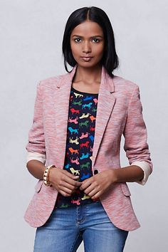 Tonal Knit Blazer - Anthropologie.  I got this one in a beautiful vintagie mint green (i can't find a picture of it in mint) and 50% off to boot!  The best of both world - blazer look and sweater comfort... what more could a girl ask for.
