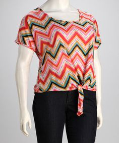 Take a look at this Pink Aztec Zigzag Plus-Size Top by Analogy on #zulily today!