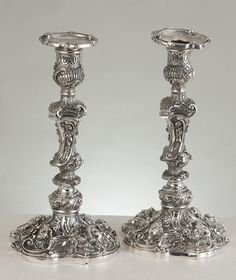 A Pair of Rococo Revival Electroplated Silver Candlesticks