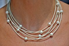 Freshwater Pearl and Leather Necklace 5 by ChristineChandler, $89.00