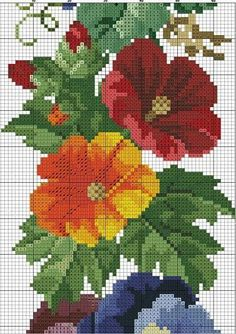 This Pin was discovered by sus Cross Stitch Bird, Beaded Cross Stitch, Cross Stitch Borders, Cross Stitch Flowers, Cross Stitch Charts, Cross Stitching, Blackwork Embroidery, Cross Stitch Embroidery, Hand Embroidery