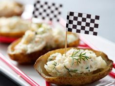 Baked potato skins with smoked salmon   These bite sized snacks are not only mess-free but healthier than the usual deep fried snacks.