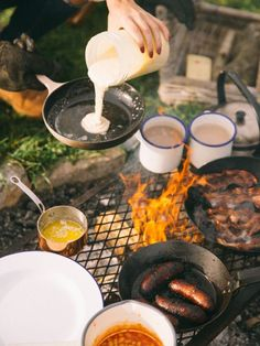 Food even tastes better camping! But use a cleaned-out ketchup squeeze bottle for pancake batter people...  Soooo easy and less mess!