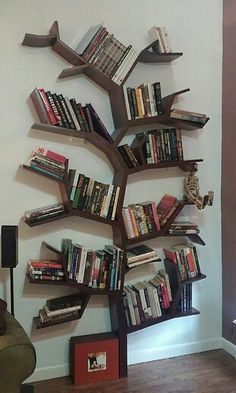 Tree Bookcase Filled With Books Made By My Neighbor