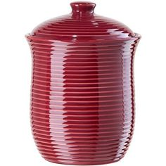 Oggi Large Red Ceramic Ribbed Food Storage Canister *** Details can be found by clicking on the image.