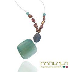 #collar nueva colección #verano, en colores de mar. Gran Hemorphite cuadrada, Fluorita y #perlas cultivadas en tonos chocolate