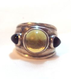 Wide Band Unisex Sterling Silver Amber Black Onyx Ring Size 6 1/2 by Tom Solow by bitzofglitz4u on Etsy